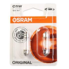 Крушка с нагреваема жичка, светлини на рег. номер C5W, SV8,5-8, 12волт, 5ват 6418-02B VW GOLF, PASSAT, POLO