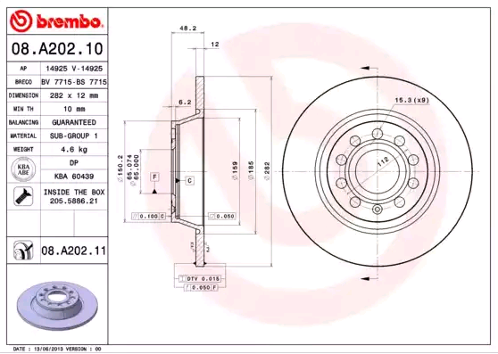 Disc Brakes BREMBO 08.A202.11 expert knowledge