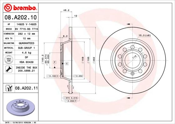 08.A202.11 BREMBO from manufacturer up to - 28% off!