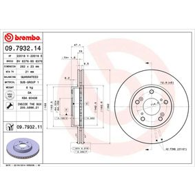 Brake Disc Brake Disc Thickness: 23mm, Num. of holes: 5, Ø: 282mm with OEM Number 45251TA5A00