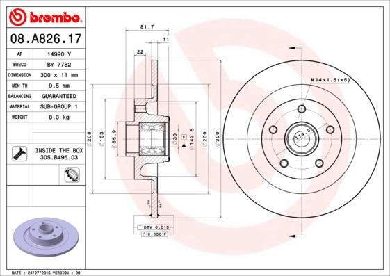 BREMBO Disque de frein 08.A826.17