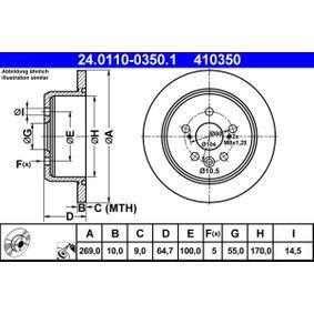 Disque de frein Epaisseur du disque de frein: 10,0mm, Nbre de trous: 5, Ø: 269,0mm avec OEM numéro 42431-20320