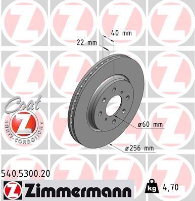ZIMMERMANN COAT Z 540.5300.20 Bremsscheibe Ø: 256mm