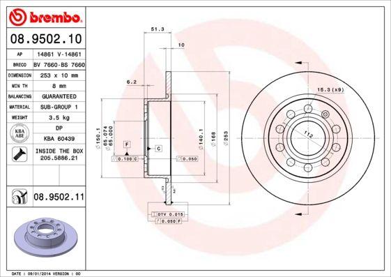 Disc Brakes BREMBO 08.9502.11 8020584024256