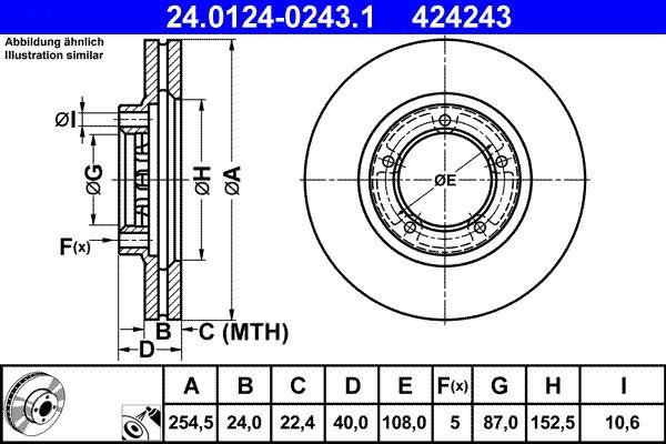 ATE  24.0124-0243.1 Bremsscheibe Bremsscheibendicke: 24,0mm, Lochanzahl: 5, Ø: 254,5mm