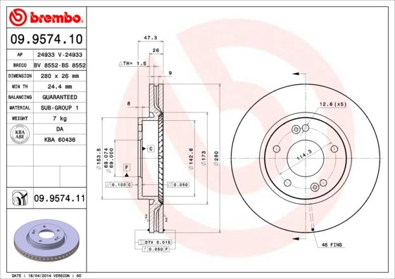 Article № 09.9574.11 BREMBO prices