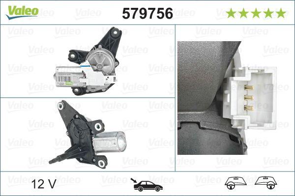 Scheibenwischermotor 579756 VALEO 579756 in Original Qualität