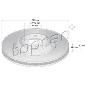 Brake Disc Brake Disc Thickness: 29,5mm, Rim: 5-Hole, Ø: 345mm with OEM Number 8K0615301K