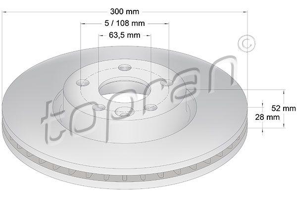 TOPRAN  303 976 Bremsscheibe Bremsscheibendicke: 28mm, Felge: 5-loch, Ø: 300mm