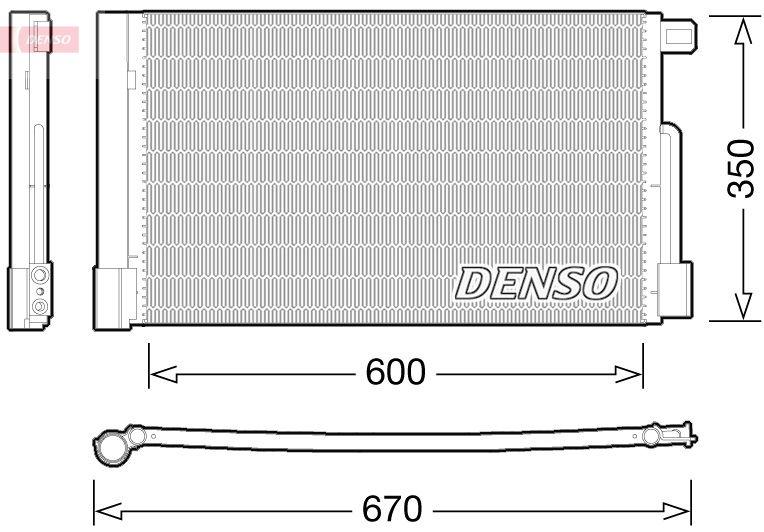 DENSO  DCN01004 Kondensator, Klimaanlage Netzmaße: 600x350, Kältemittel: R 134a