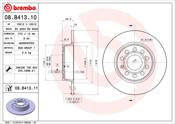 Bremsscheiben 08.B413.10 BREMBO 08.B413.10 in Original Qualität