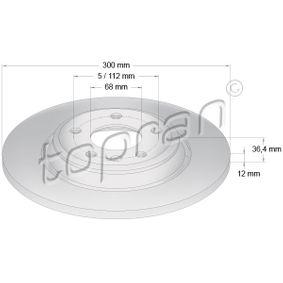 Bremsscheibe Bremsscheibendicke: 12mm, Felge: 5-loch, Ø: 300mm mit OEM-Nummer 8K0615601M