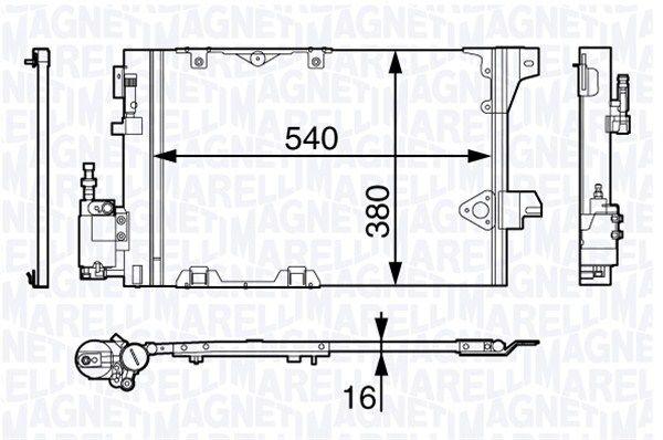 MAGNETI MARELLI  350203703000 Kondensator, Klimaanlage