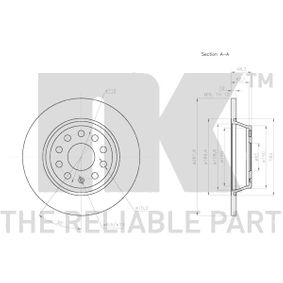 Bremsscheibe Bremsscheibendicke: 12,00mm, Felge: 5,00-loch, Ø: 282mm mit OEM-Nummer 5Q0 615 601G