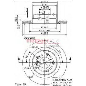 Bremsscheibe Bremsscheibendicke: 20mm, Lochanzahl: 5, Ø: 300mm mit OEM-Nummer 34216783754