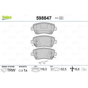 Bremsbelagsatz, Scheibenbremse Breite: 116,5mm, Höhe: 52,5mm, Dicke/Stärke: 16,6mm mit OEM-Nummer 93192962