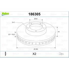 Bremsscheibe Bremsscheibendicke: 22mm, Felge: 5-loch, Ø: 262mm mit OEM-Nummer 7701205841