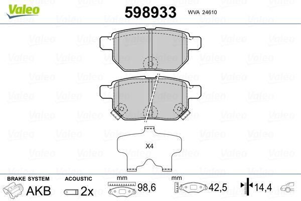 Brake Pads 598933 VALEO 598933 original quality
