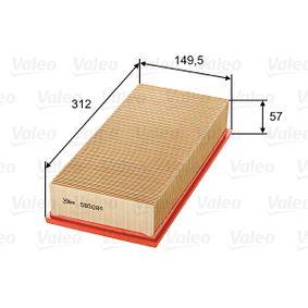 Filtro aria Lunghezza: 312, 314mm, Largh.: 151mm, Alt.: 58mm, Lunghezza: 312, 314mm con OEM Numero 1444 -VJ