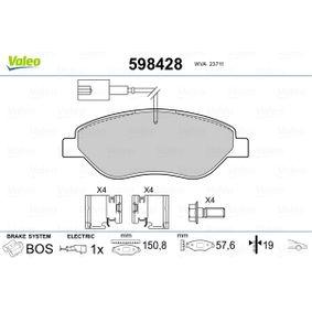 Bremsbelagsatz, Scheibenbremse Breite 1: 150,8mm, Höhe 1: 57,64mm, Dicke/Stärke 1: 19mm mit OEM-Nummer 7736 5188