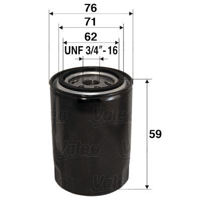 VALEO  586065 Oil Filter Ø: 76mm, Inner Diameter 2: 71mm, Inner Diameter 2: 62mm, Height: 59mm