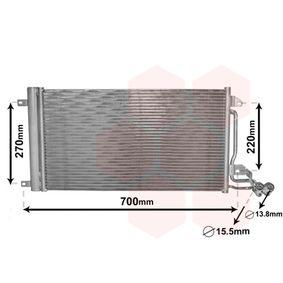 Kondensator, Klimaanlage Netzmaße: 615x334x16 mit OEM-Nummer 6R0 820 411J