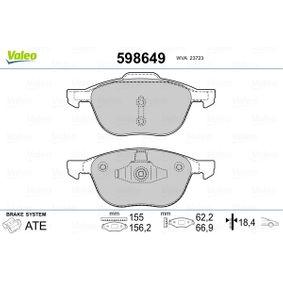 Bremsbelagsatz, Scheibenbremse Breite 1: 155,15mm, Breite 2: 156,35mm, Höhe 1: 62,3mm, Höhe 2: 67mm, Dicke/Stärke 2: 18,4mm mit OEM-Nummer AV612K021-BB