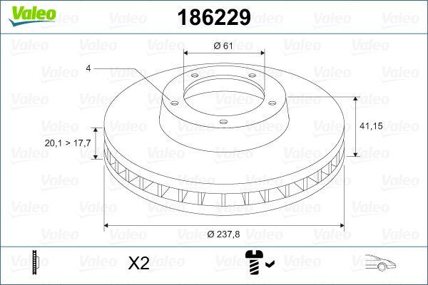 Bremsscheiben 186229 VALEO DF495 in Original Qualität