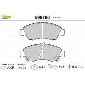 Комплект спирачно феродо, дискови спирачки 598760 Jazz 2 (GD_, GE3, GE2) 1.2 i-DSI (GD5, GE2) Г.П. 2006
