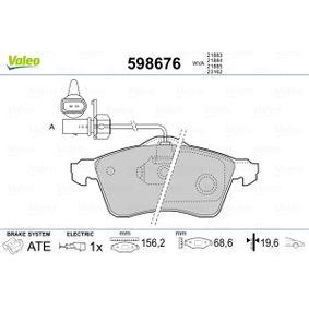 Bremsbelagsatz, Scheibenbremse Breite: 156,2mm, Höhe: 68,6mm, Dicke/Stärke: 19,6mm mit OEM-Nummer 7D0 698 151 F