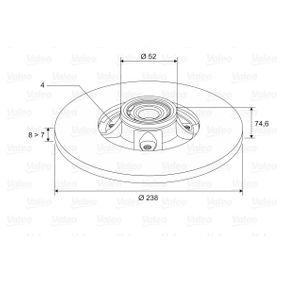 Bremsscheibe Bremsscheibendicke: 8mm, Felge: 4-loch, Ø: 238mm mit OEM-Nummer 77.00.805.148