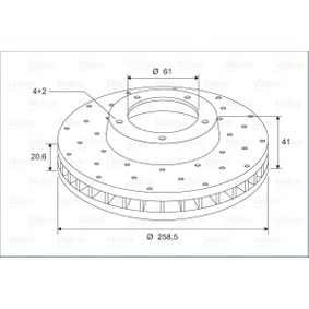 Bremsscheibe Bremsscheibendicke: 20,6mm, Felge: 4-loch, Ø: 258,5mm mit OEM-Nummer 77012-05653