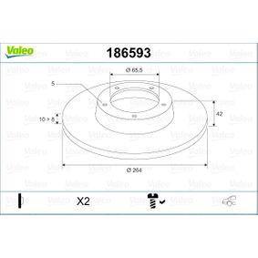 Bremsscheibe Bremsscheibendicke: 10mm, Felge: 5-loch, Ø: 264mm mit OEM-Nummer 95 526 658