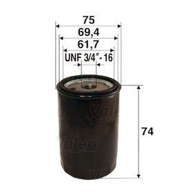 Filtre à huile Ø: 75mm, Diamètre intérieur 2: 69,4mm, Diamètre intérieur 2: 61,7mm, Hauteur: 74mm avec OEM numéro 20155370