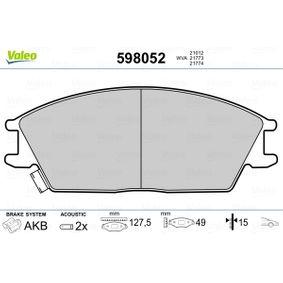 Bremsbelagsatz, Scheibenbremse Breite: 127,5mm, Höhe: 49mm, Dicke/Stärke: 15mm mit OEM-Nummer 58101-24B00