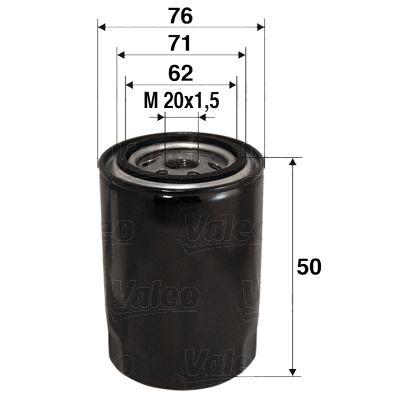 VALEO  586001 Olajszűrő Ø: 76mm, Belső átmérő 2: 71mm, Belső átmérő 2: 62mm, Magasság: 50mm