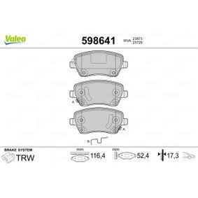 Bremsbelagsatz, Scheibenbremse Breite: 116,4mm, Höhe: 52,4mm, Dicke/Stärke: 17,3mm mit OEM-Nummer 41 06 084 81R