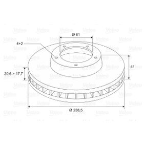Bremsscheibe Bremsscheibendicke: 20,6mm, Felge: 4-loch, Ø: 258,5mm mit OEM-Nummer 77.00.780.892