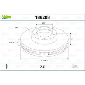 Bremsscheibe Bremsscheibendicke: 20,6mm, Felge: 4-loch, Ø: 258,5mm mit OEM-Nummer 40206-00Q0K