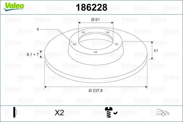 Bremsscheiben 186228 VALEO DF457 in Original Qualität
