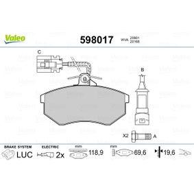 Bremsbelagsatz, Scheibenbremse Art. Nr. 598017 120,00€