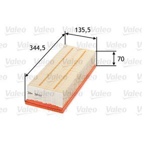 Luftfilter Länge: 344,5mm, Breite: 135,5mm, Höhe: 70mm, Länge: 344,5mm mit OEM-Nummer 1K0-129-620D