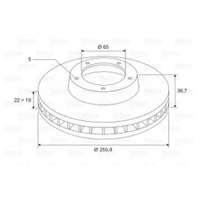 Bremsscheibe Bremsscheibendicke: 22mm, Felge: 5-loch, Ø: 256mm mit OEM-Nummer 1JE 615 301