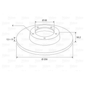 Bremsscheibe Bremsscheibendicke: 13mm, Felge: 4-loch, Ø: 256mm mit OEM-Nummer 895 615 301
