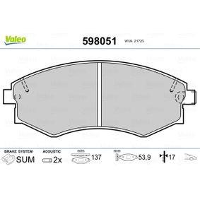 Bremsbelagsatz, Scheibenbremse Breite: 137mm, Höhe: 53,9mm, Dicke/Stärke: 17mm mit OEM-Nummer 58101-3C-A20