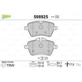 Bremsbelagsatz, Scheibenbremse Breite: 131,6mm, Höhe 2: 71,6mm, Höhe: 64,1mm, Dicke/Stärke: 17,9mm mit OEM-Nummer 3411 6778 320