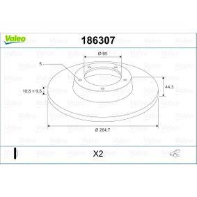 Pulseur d'Air et Composants RENAULT SAFRANE II (B54_) 2.2 dT (B54G) de Année 07.1996 113 CH: Disque de frein (186307) pour des VALEO