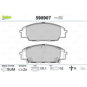 2004 Honda Civic Mk7 2.0 Type-R Brake Pad Set, disc brake 598907