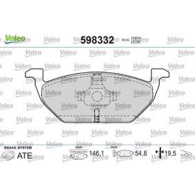 Bremsbelagsatz, Scheibenbremse Breite: 146,1mm, Höhe: 54,8mm, Dicke/Stärke: 19,50mm mit OEM-Nummer 1J0615115