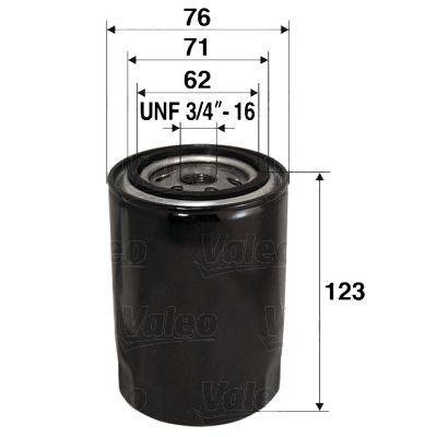 VALEO  586038 Ölfilter Ø: 76mm, Innendurchmesser 2: 71mm, Innendurchmesser 2: 62mm, Höhe: 123mm